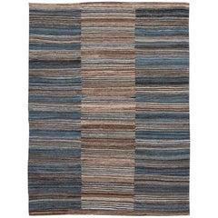 Modern Kilim Flat-Weave Handmade Wool Rug