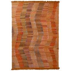 Rug & Kilim's Modern Kilim Geometric Orange Multi-Color Chevron Pattern