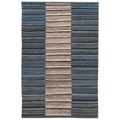 Modern Kilim Handmade Blue Striped Wool Rug