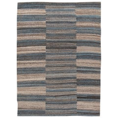 Modern Kilim Handmade Striped Wool Rug
