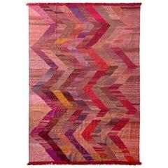 Modern Kilim Red Pink Chevron Pattern Flat-Weave by Rug & Kilim