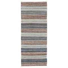 Modern Kilim Rug with Stripes in Shades of Blue, Taupe, Brown, and Cream Runner
