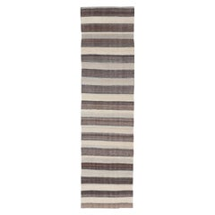 Modern Kilim Rug with Stripes in Shades of Blue, Taupe, Gray and Cream Runner