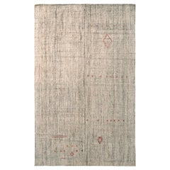 Modern Kilim Striped Beige Gray and Green Transitional Flat-Weave by Rug & Kilim