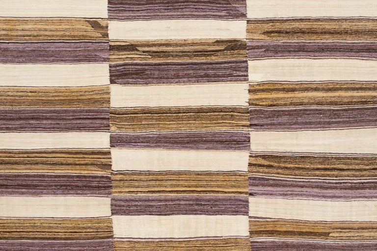 Hand-Woven Modern Kilim Striped Rug For Sale