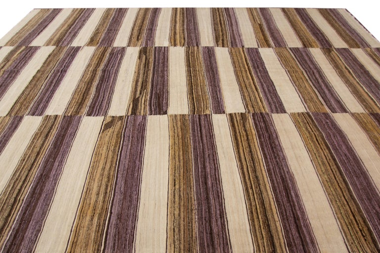 Contemporary Modern Kilim Striped Rug For Sale