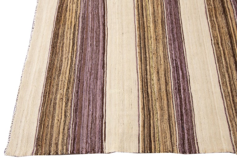 Modern Kilim Striped Rug For Sale 2