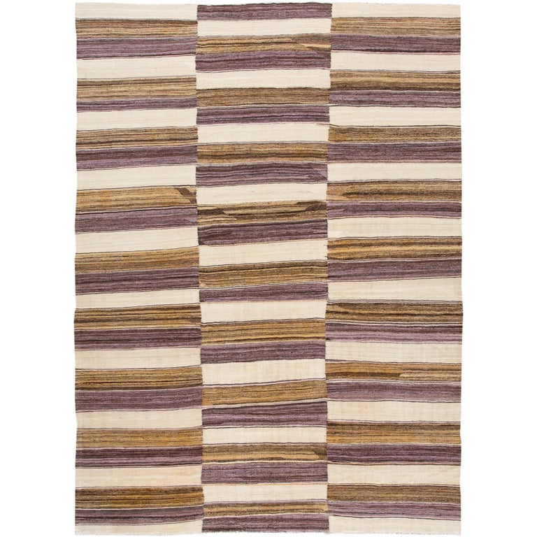 Modern Kilim Striped Rug For Sale