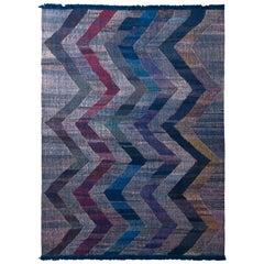 Rug & Kilim's Modern Kilim Wool Blue Purple and Gray Chevron Pattern