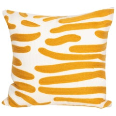 Modern Kilombo Home Embroidery Pillow Cotton Animal Print Mustard and White