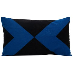 Modern Kilombo Home Embroidery Pillow Cotton black and Indigo Blue
