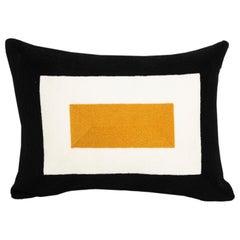 Modern Kilombo Home Embroidery Pillow Cotton Geometric Print Black Mustard White