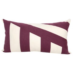 Modern Kilombo Home Embroidery Pillow Cotton Geometric Purple and White