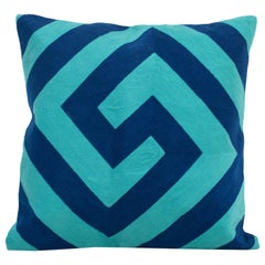 Modern Kilombo Home Embroidery Pillow Cotton Indigo Blue and Turquoise