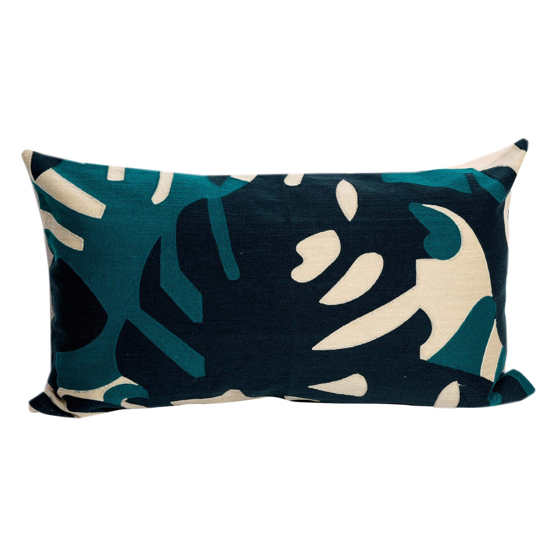 Modern Kilombo Home Embroidery Pillow Cotton Leaves Blue