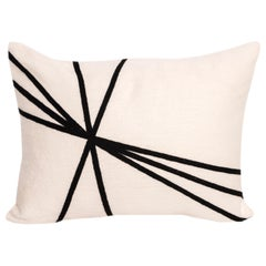 Modern Kilombo Home Embroidery Pillow Cotton Lines Black and White
