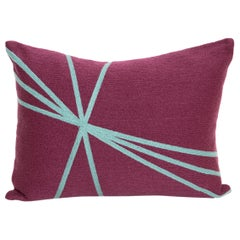 Modern Kilombo Home Embroidery Pillow Cotton Lines Pulple and Turquoise