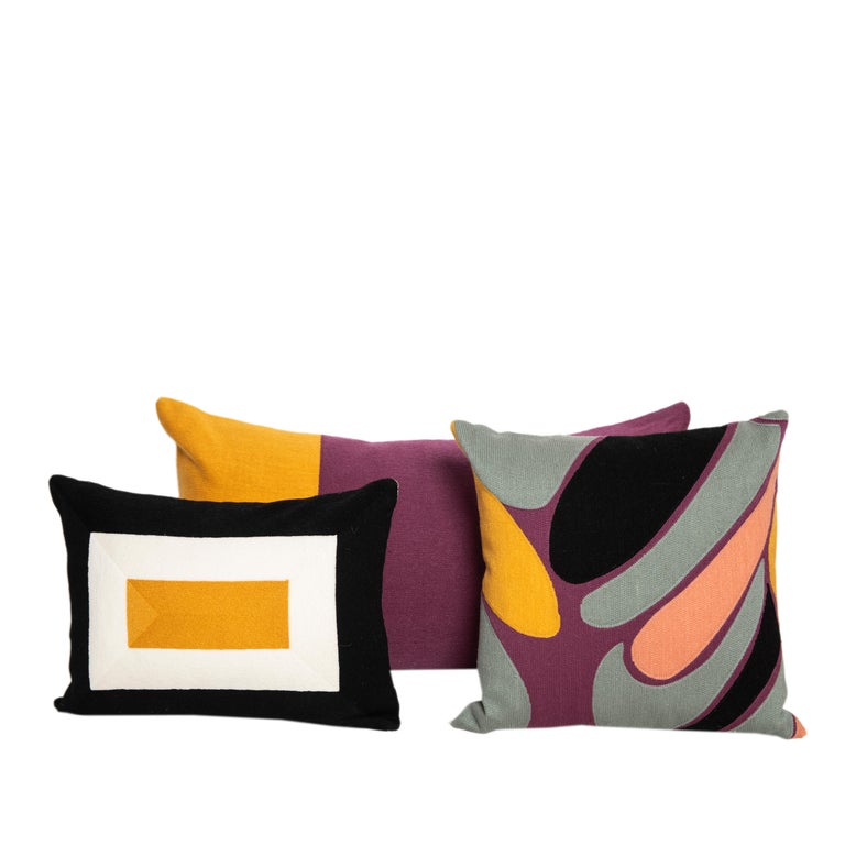Embroidered Modern Kilombo Home Embroidery Pillow Cotton Multiple Colors For Sale