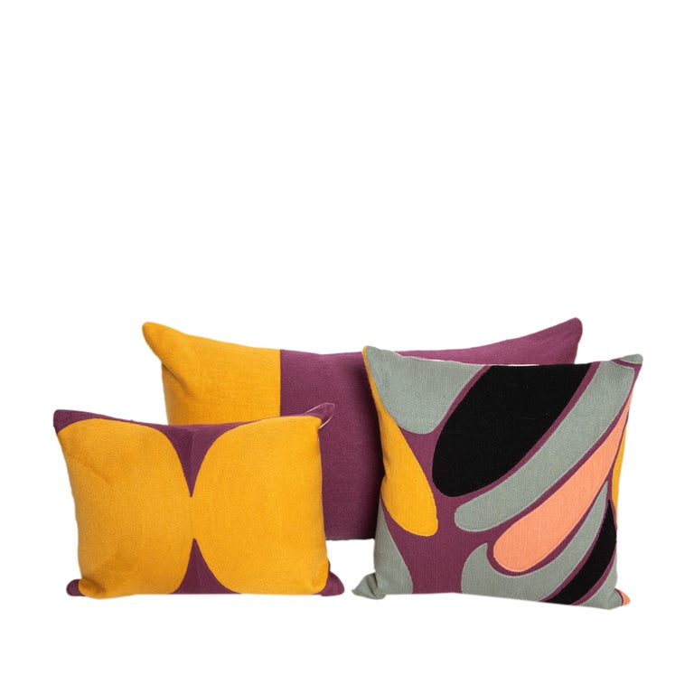 Modern Kilombo Home Embroidery Pillow Cotton Multiple Colors In New Condition For Sale In Madrid, ES
