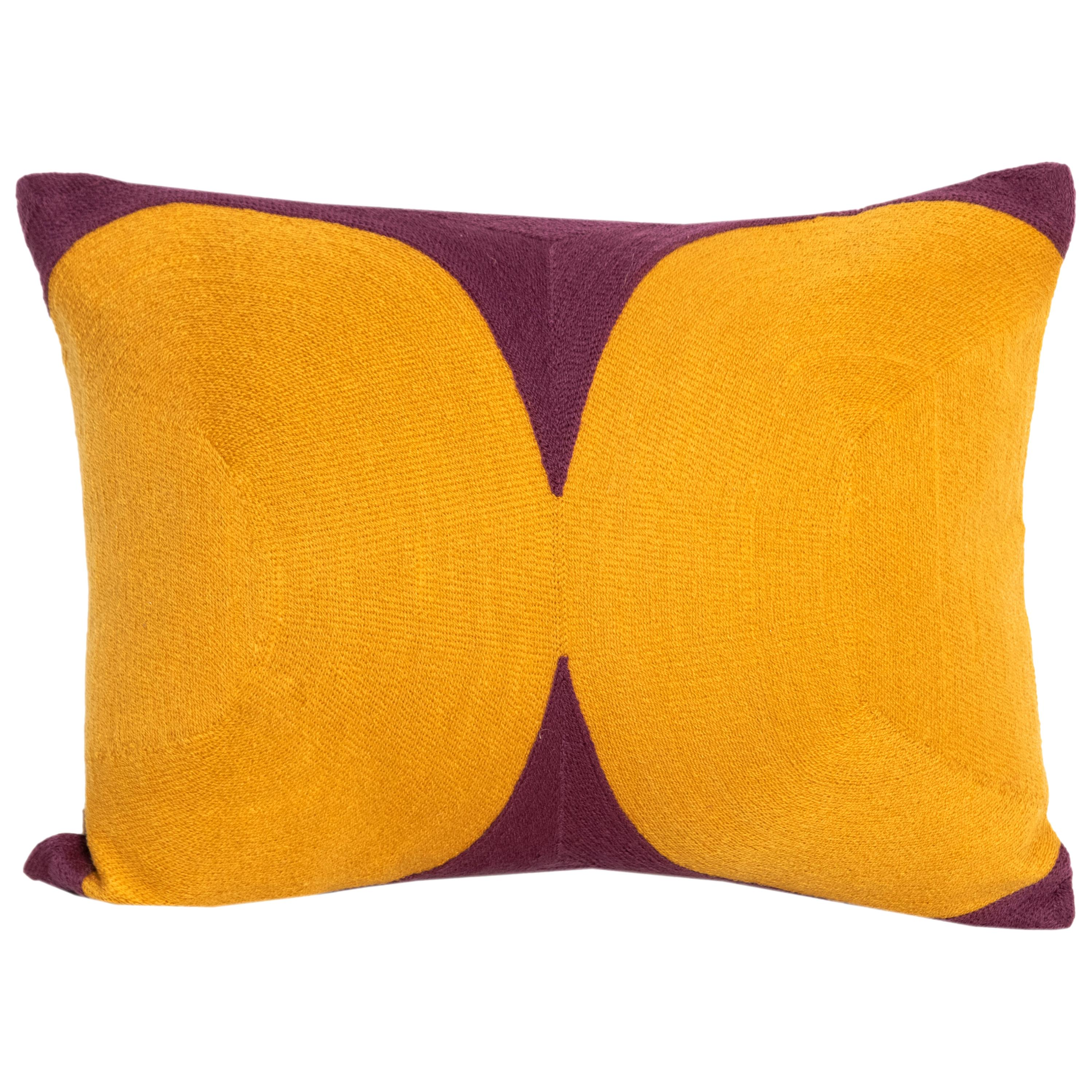 Modern Kilombo Home Embroidery Pillow Cotton Mustard and Purple