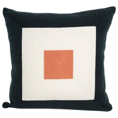 Modern Kilombo Home Embroidery Pillow Cotton Navy Blue White and Salmon