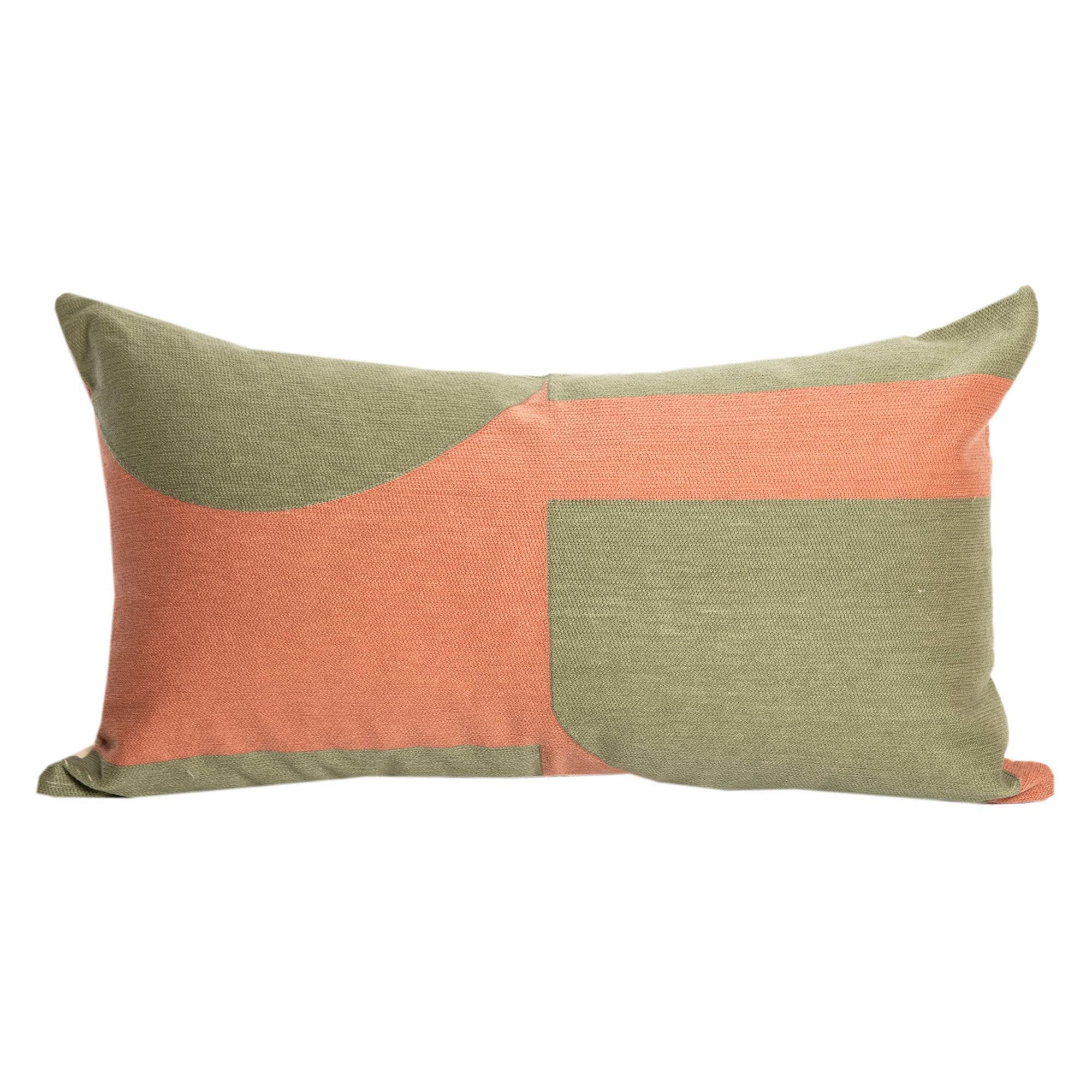 Modern Kilombo Home Embroidery Pillow Cotton Pac-Man Salmon&Green