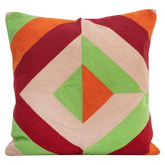 Modern Kilombo Home Embroidery Pillow Cotton Red Green Orange and Nude