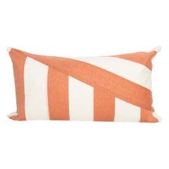 Modern Kilombo Home Embroidery Pillow Cotton Stripes Salmon and White