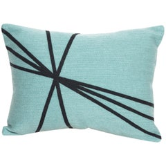 Modern Kilombo Home Embroidery Pillow Cotton Turquoise and Navy blue