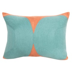 Modern Kilombo Home Embroidery Pillow Cotton Turquoise and Salmon