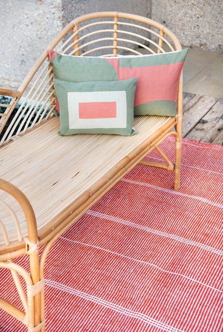 Modern Kilombo Home Embroidery Pillow Smart Green&Salmon For Sale 6