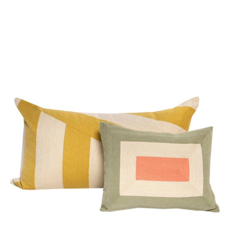 Indian Modern Kilombo Home Embroidery Pillow Smart Green&Salmon For Sale