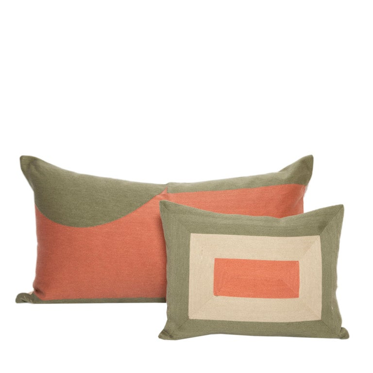 Embroidered Modern Kilombo Home Embroidery Pillow Smart Green&Salmon For Sale