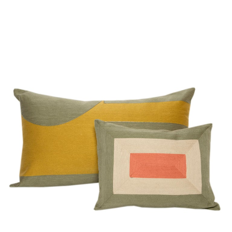 Modern Kilombo Home Embroidery Pillow Smart Green&Salmon In New Condition For Sale In Madrid, ES