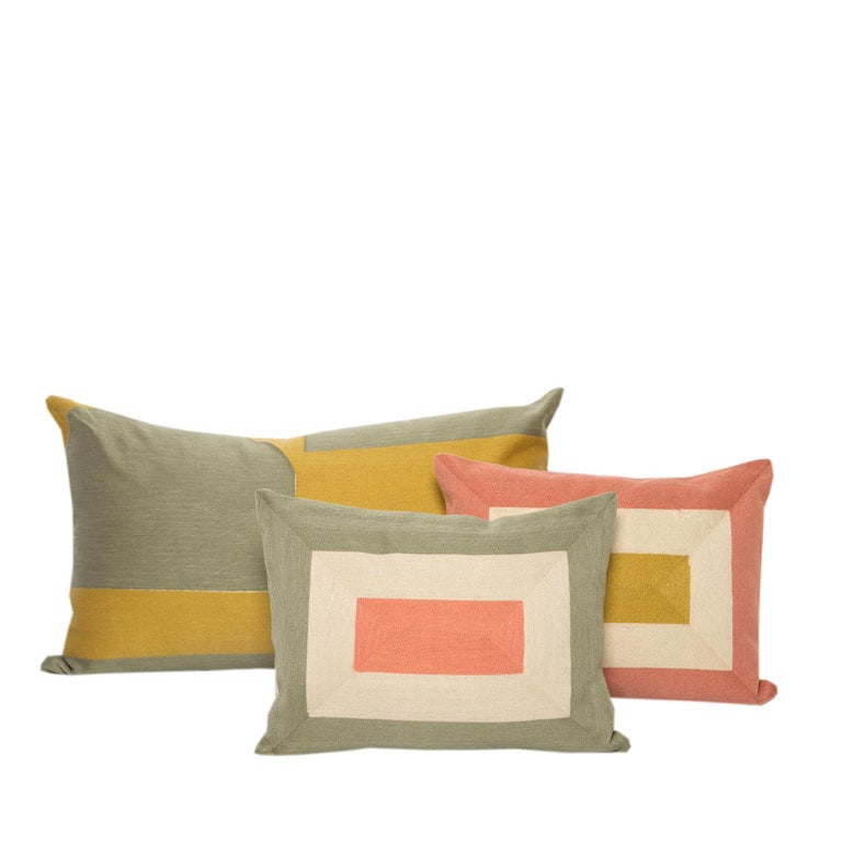 Contemporary Modern Kilombo Home Embroidery Pillow Smart Green&Salmon For Sale
