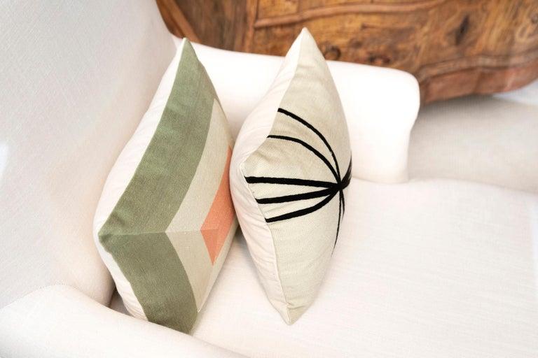 Modern Kilombo Home Embroidery Pillow Smart Green&Salmon For Sale 11