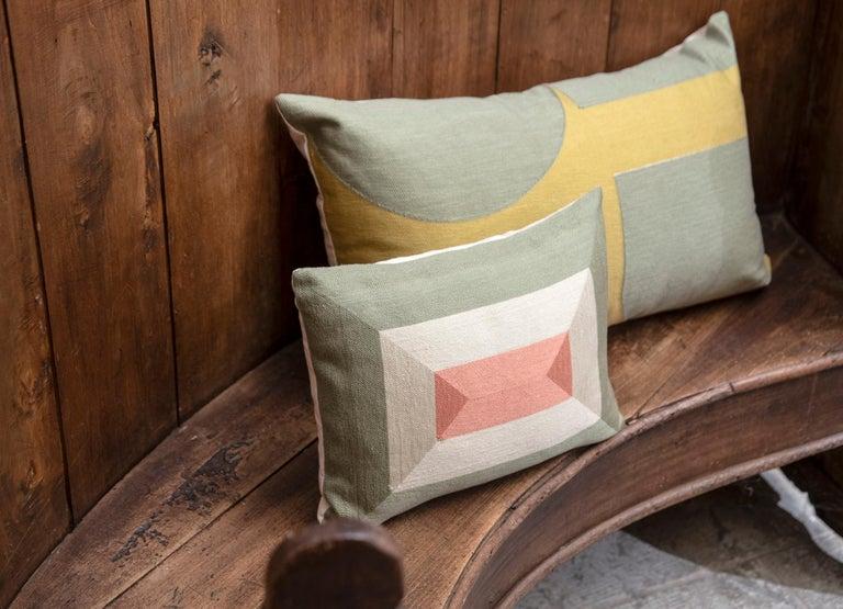 Cotton Modern Kilombo Home Embroidery Pillow Smart Green&Salmon For Sale