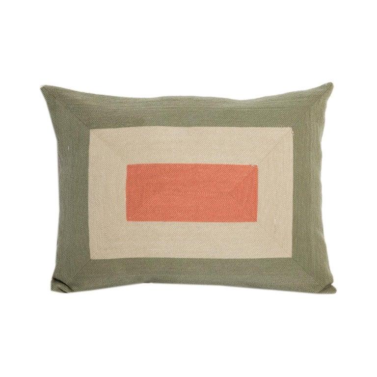 Modern Kilombo Home Embroidery Pillow Smart Green&Salmon For Sale