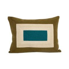 Modern Kilombo Home Embroidery Pillow Smart Olive Green&Petrol