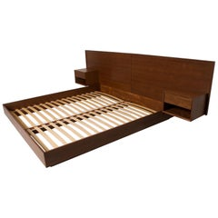 Modern King Size Platform Bed with Floating Nightstands in Walnut