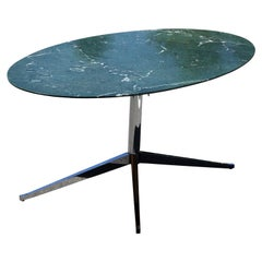 Modern Knoll Green Marble Oval Top Dining Table with Chrome Base
