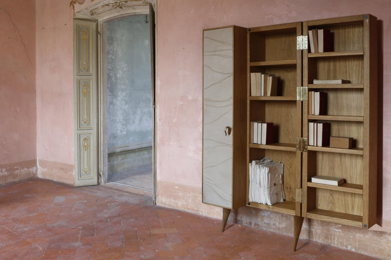 Italian Modern, Kryptos, Bookcase Handcrafted in Full-Grain Leather in Bas-Relief For Sale