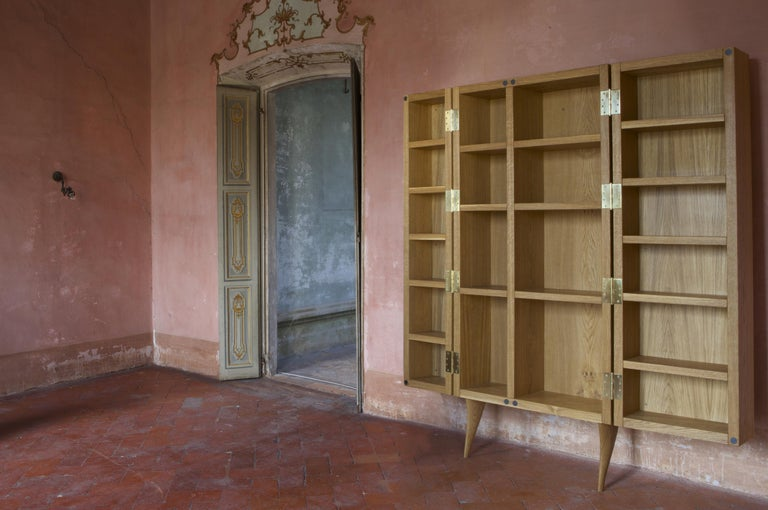 Modern, Kryptos, Bookcase Handcrafted in Full-Grain Leather in Bas-Relief In New Condition For Sale In Milan, Lombardy