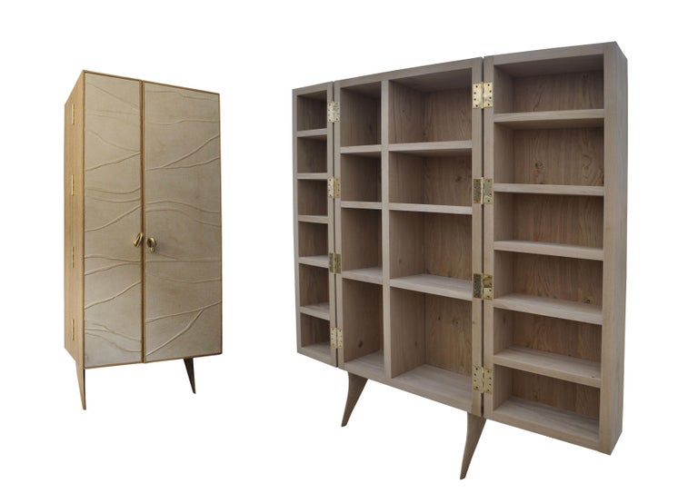 Contemporary Modern, Kryptos, Bookcase Handcrafted in Full-Grain Leather in Bas-Relief For Sale