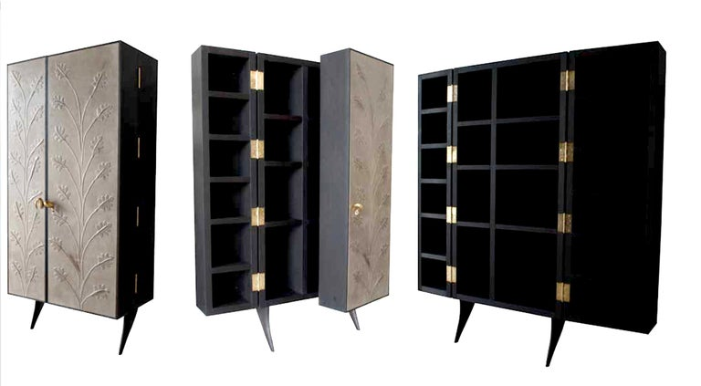 Modern, Kryptos, Bookcase Handcrafted in Full-Grain Leather in Bas-Relief For Sale 1