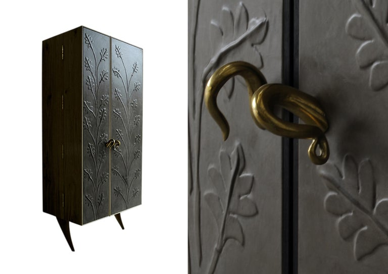 Modern, Kryptos, Bookcase Handcrafted in Full-Grain Leather in Bas-Relief For Sale 2