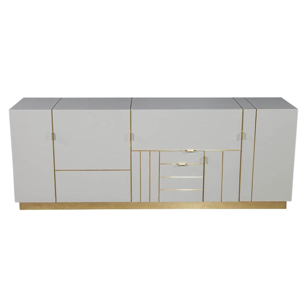 Modern Lacquered Buffet Credenza Sideboard with Brass Detail