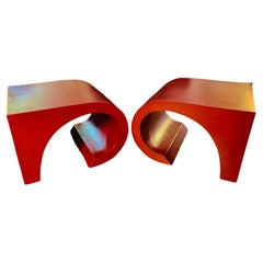 Modern Lacquered Grasscloth-Wrapped Sculptural End Tables ca. 1980's