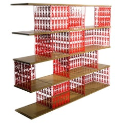 Modern Lacquered Steel and Timber Modular Beetle Bookcase Shelves by Egg Designs
