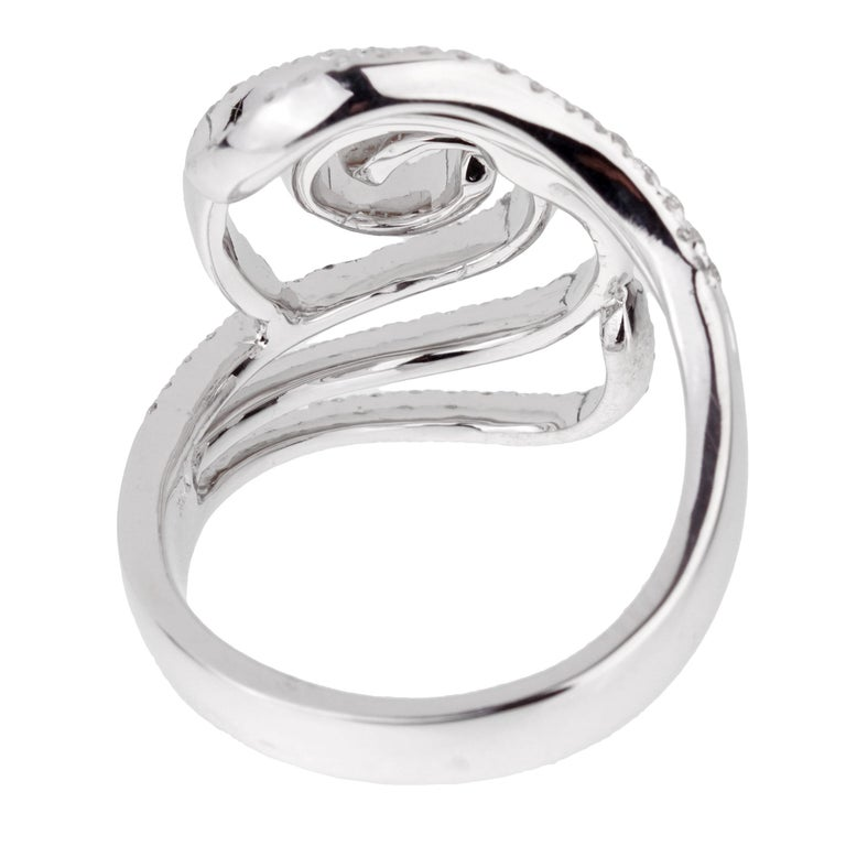 Women's or Men's Modern Ladies White Gold Diamond Cocktail Ring For Sale